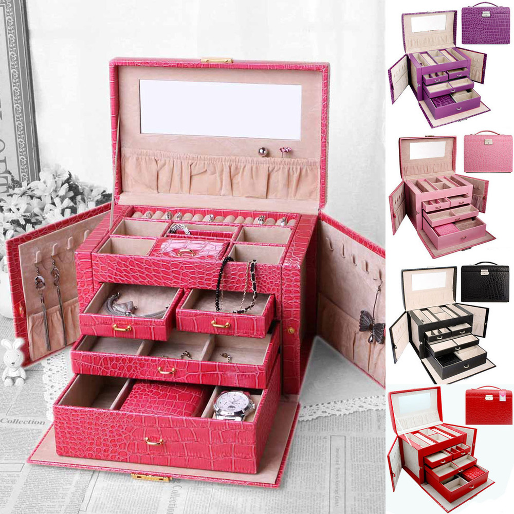 free shipping luxury cosmetic bag case 5 color 4 floors cosmetic box gift big capacity. Black Bedroom Furniture Sets. Home Design Ideas