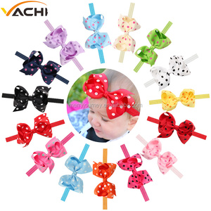 Baby Girl Infant Dot Bow Knot Elastic Headbands With Dot Headdress