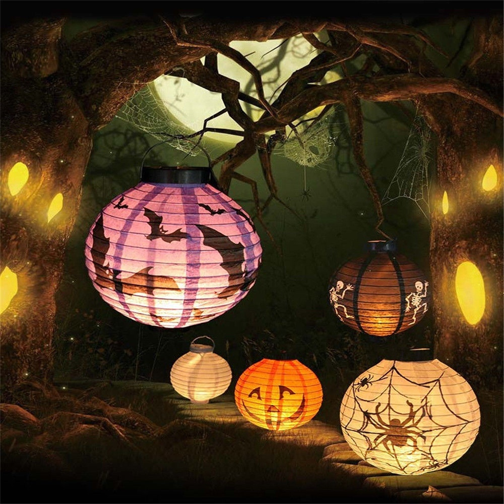 High quality LED Paper Pumpkin Latern Spider Hanging Light Lamp Halloween Party Decoration Accessories