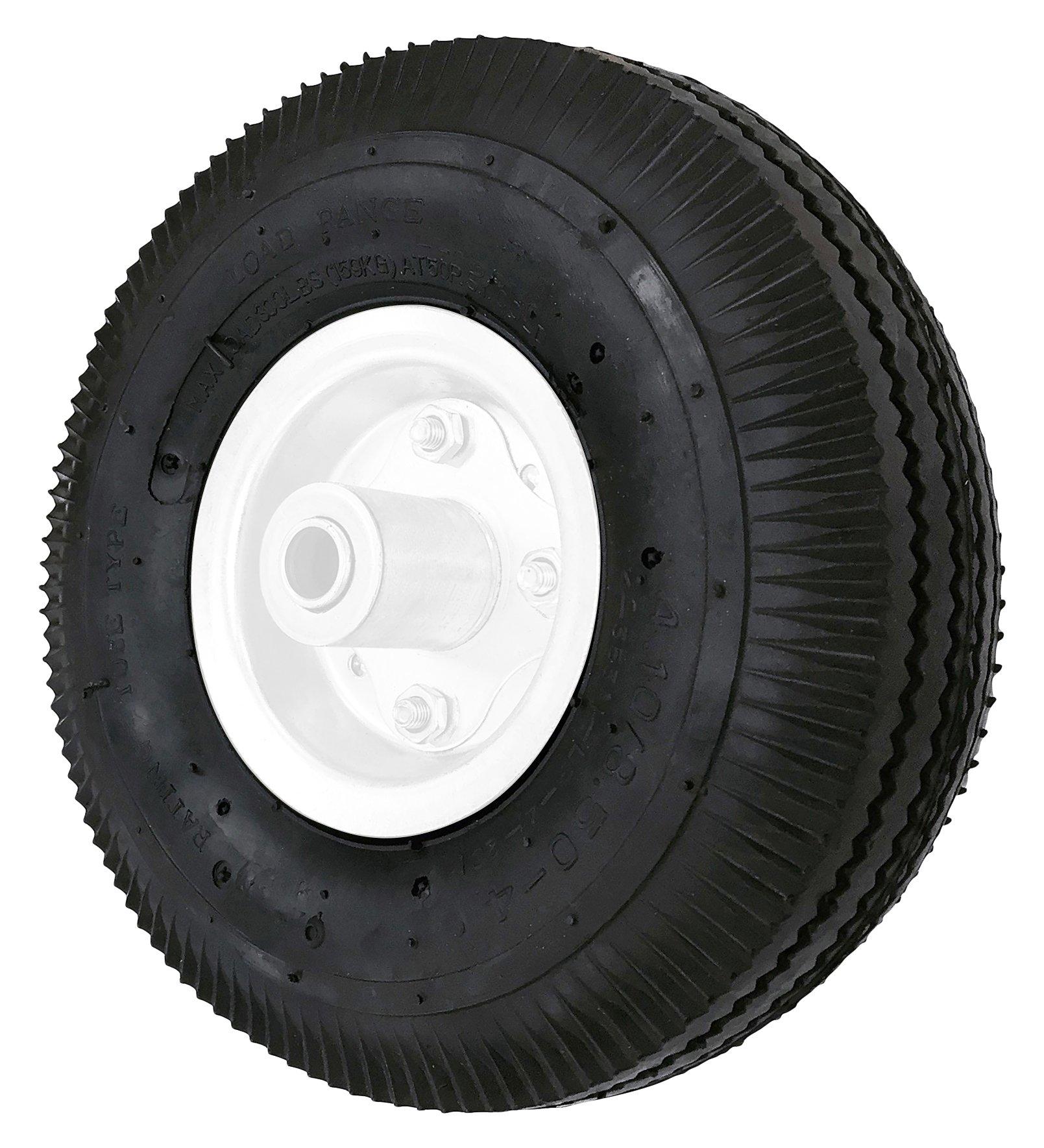 Shepherd Hardware 9634 4.10x10-Inch Pneumatic Replacement Tire, 10-Inch, Sawtooth Tread, 3-1/2-Inch Offset Hub, 5/8-Inch Axle Diameter, Ball Bearings