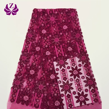guangzhou bridal dry import embroidered magenta lace fabric for women