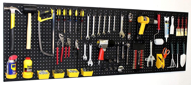 """WallPeg 72"""" Wide Pegboard Kit, Peg Hooks & Bins - Garage Storage, Tools EB24243B Trimiurti Online-Store"""