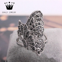 Personalized 925 Sterling Silver Jewelry Butterfly Shape Silver Ring With Zirconia Stones