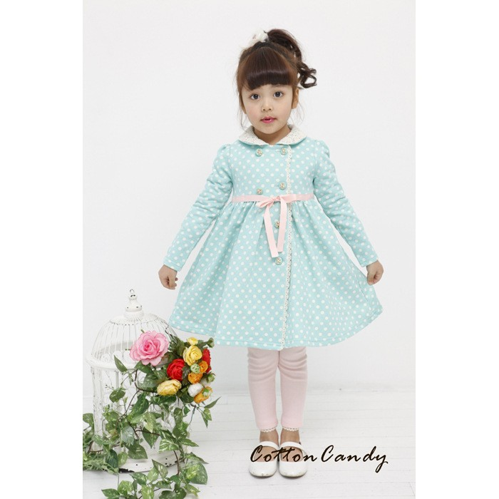 Wholesale New Design Long Little Girls Cotton Dress Coat With Prince Style