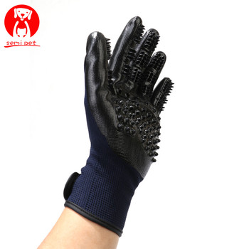 2 in 1 Pet Grooming Gloves Dog Cat Hair Cleaning Brush Comb Black Rubber Five Fingers Deshedding Pet Glove For Dog Cat