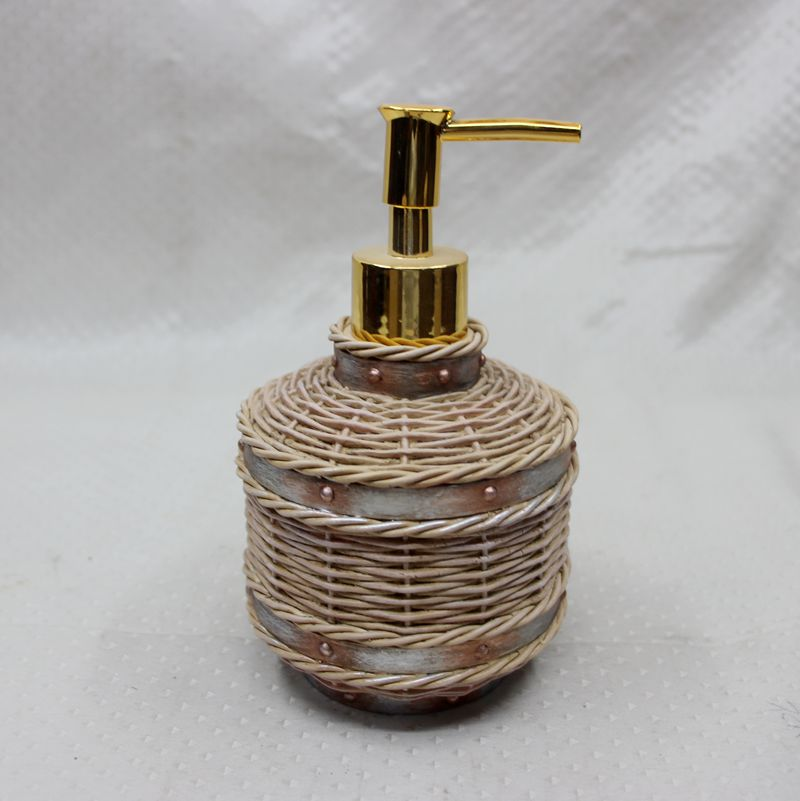 Wholesale Lotion Dispenser Rattan Design Resin Bathroom accessory Set