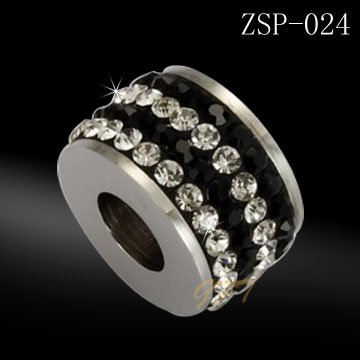 stainless steel bead with crystal