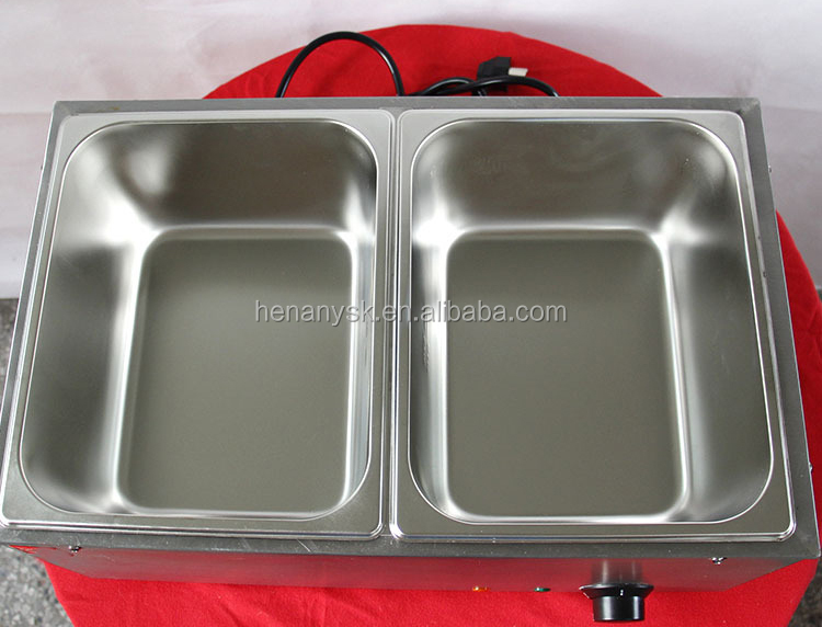 2 Pan Electric Bain Marie Food Warmer Counter Top Soup Warmer Bain Marie Electric Buffet Snack Equipment