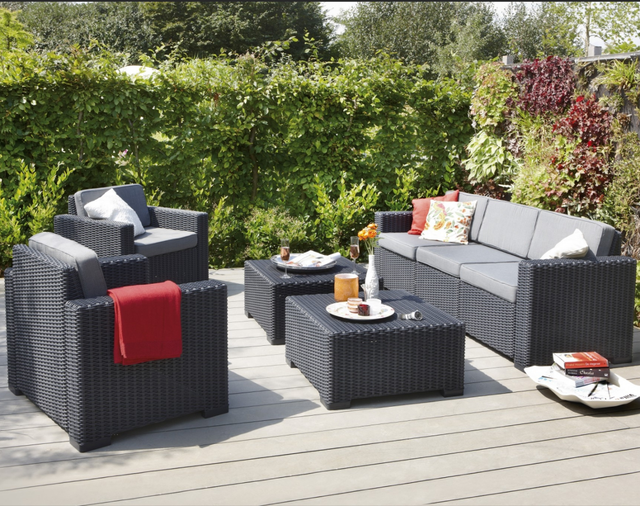 5 Seater Black Rattan Chair Outdoor