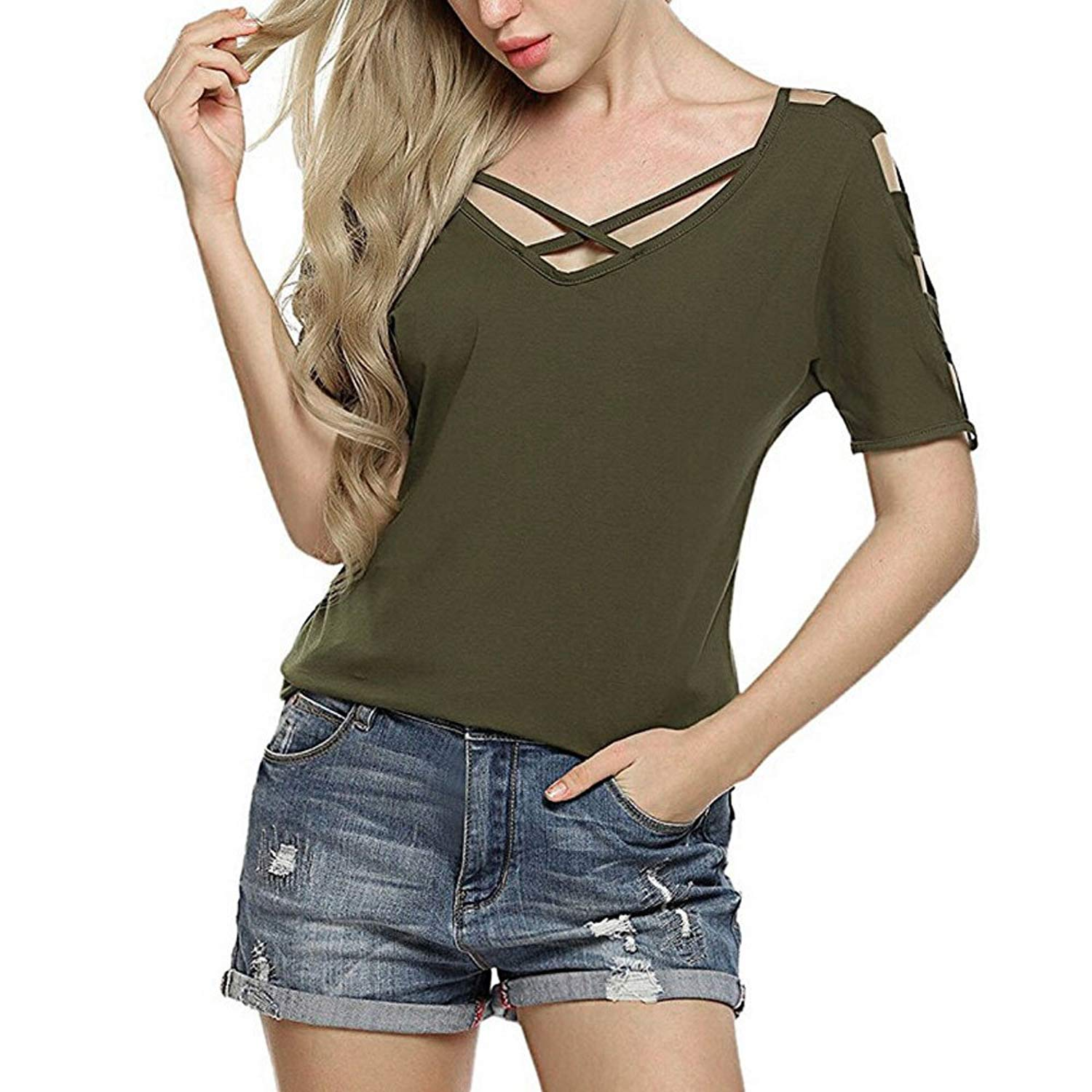 c4b333a5b7be0 Get Quotations · Clearance Women Casual Short Sleeve Cross Front Cut Out  Shoulder Loose Blouse Tops Shirts Teen Girls