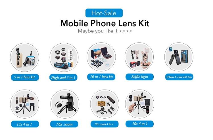 Apexel Novas idéias 2018 Amazon Quente Top Venda Do Telefone Móvel Lente Da Câmera para Câmera Dupla Lente 6 em 1 Kit para o iphone X XS