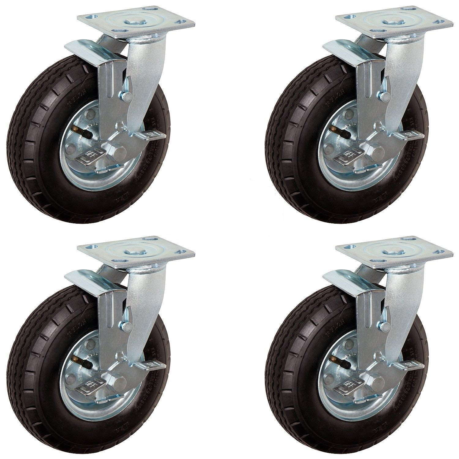 """CasterHQ 8"""" x 2.5"""" Swivel Set of 4 Pneumatic Caster - 4 PLY - 250 lbs per / 1000 lbs per Set Capacity - Air Filled - Commercial/Industrial Application - 8 inch - Shock Absorption -"""