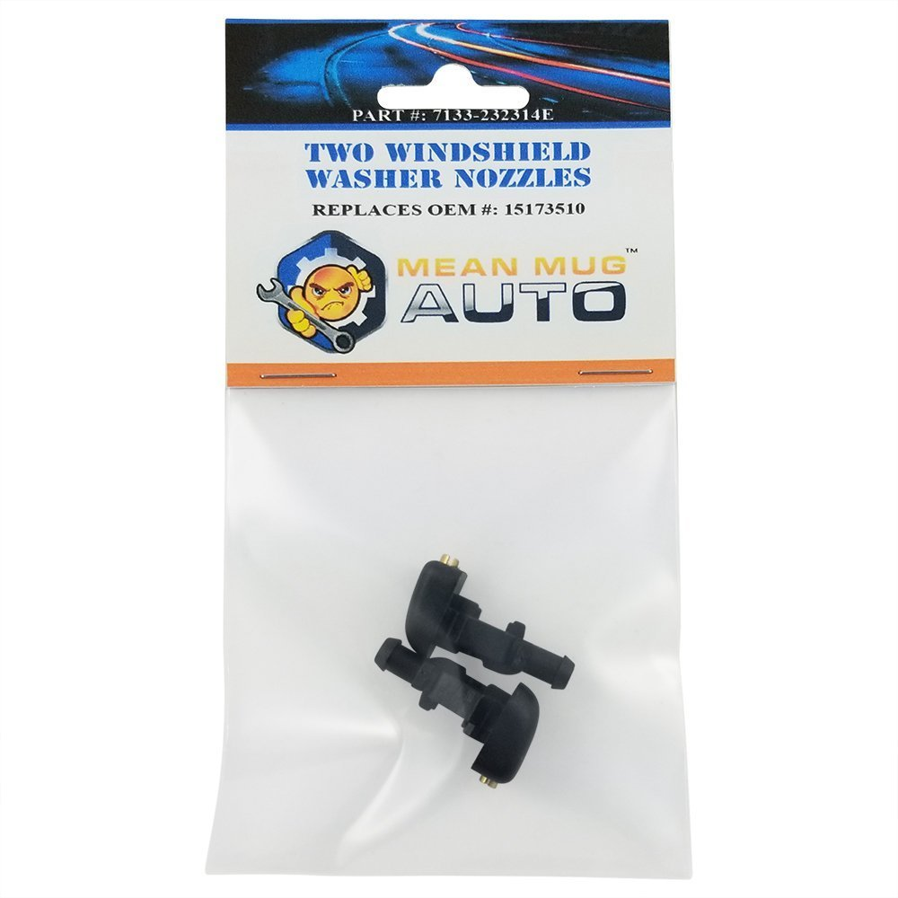Mean Mug Auto 7133-232314E (Two) Front Windshield Washer Nozzles - For: Chevrolet (Chevy), GMC, Pontiac, Hummer - Replaces OEM #: 15173510