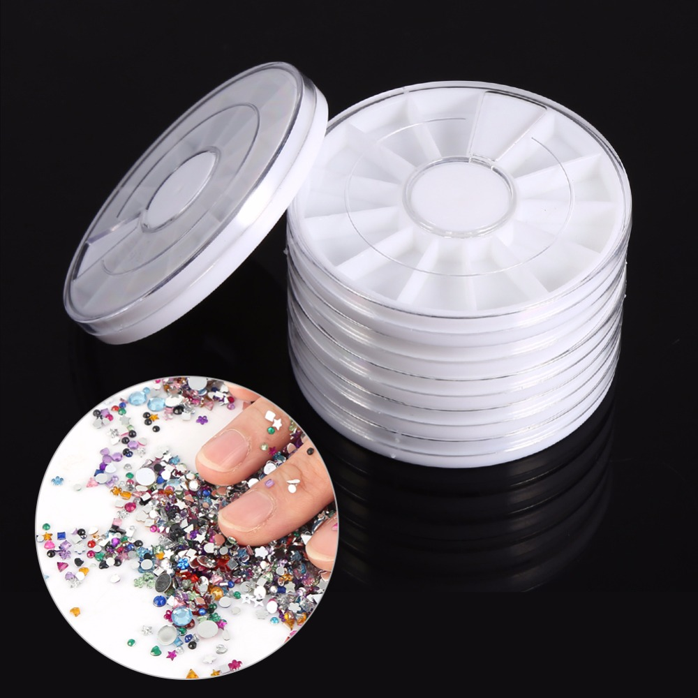 Plastic Box 12 Compartments Nail Art Decoration Gem Rhinestone Empty Wheel Box Storage Container Storage Holder Tools