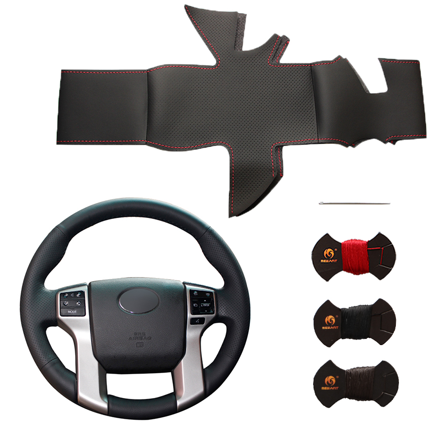 New Custom DIY Genuine Leather Steering Wheel Cover for Toyota Land Cruiser Prado 2010-2015 Tundra 2013-2017 Tacoma 2011-2016