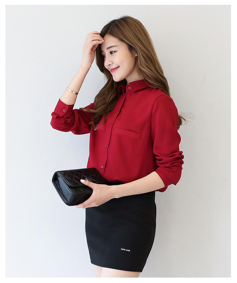Women Blouse 2016 New Casual Women's Long Sleeved Solid Shirt Plus Size Blouses Ladies Office OL Style Shirts Blusas