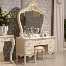 Ivory white Antique Rubber Wood dressing Table For Bedroom