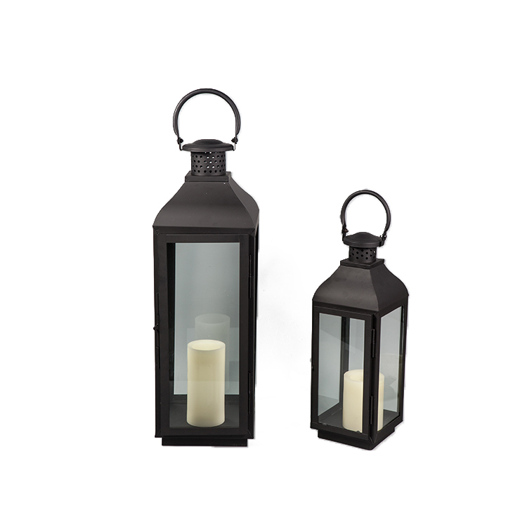 Hot product popular black candle holders set of 3 galvanized metal lantern