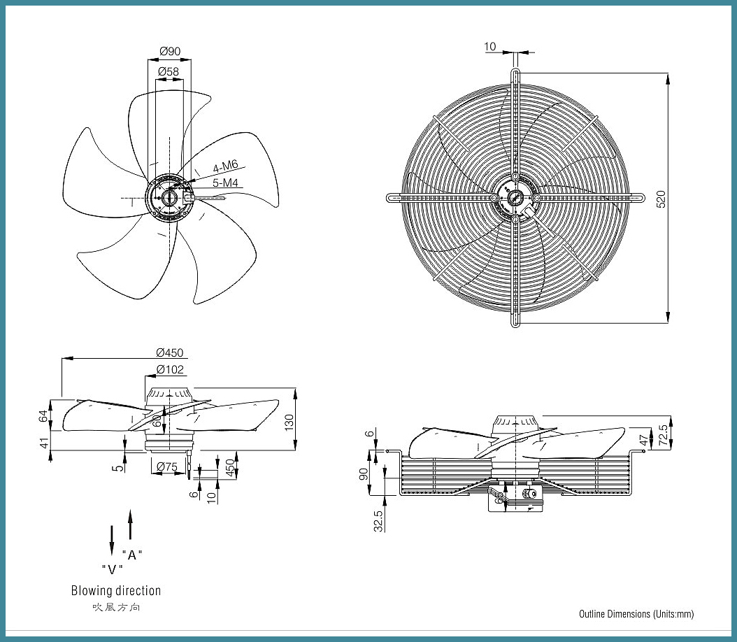 Axial external motor rotor cooling fan 230V FJ4E-450.FG.V for cooler