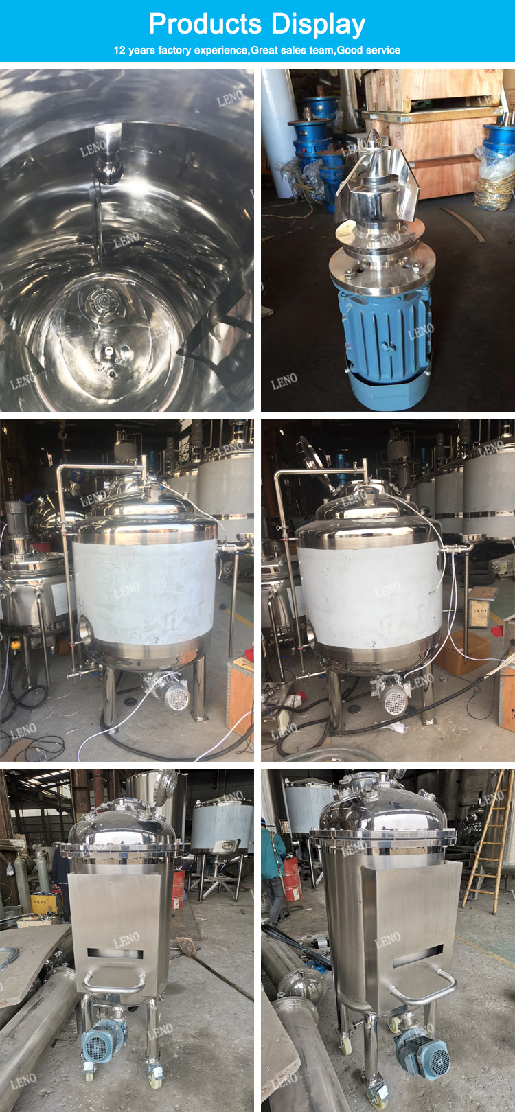 Food grade stainless steel jacketed agitator bottom magnetic mixing tank