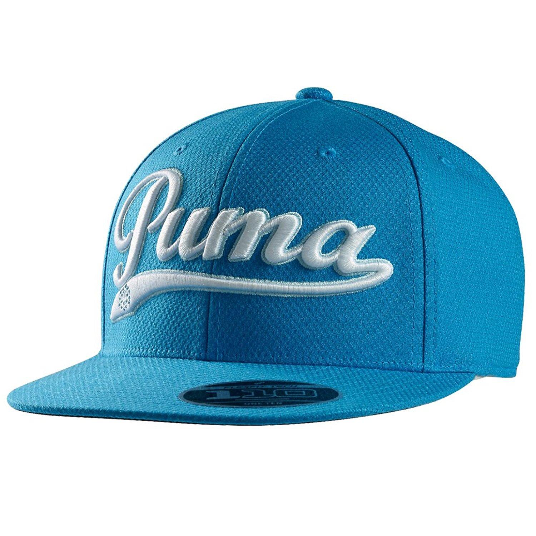 143c53ba482 Buy Puma Script City Black w Blue Logo Flat Brim Retro Snapback Hat ...