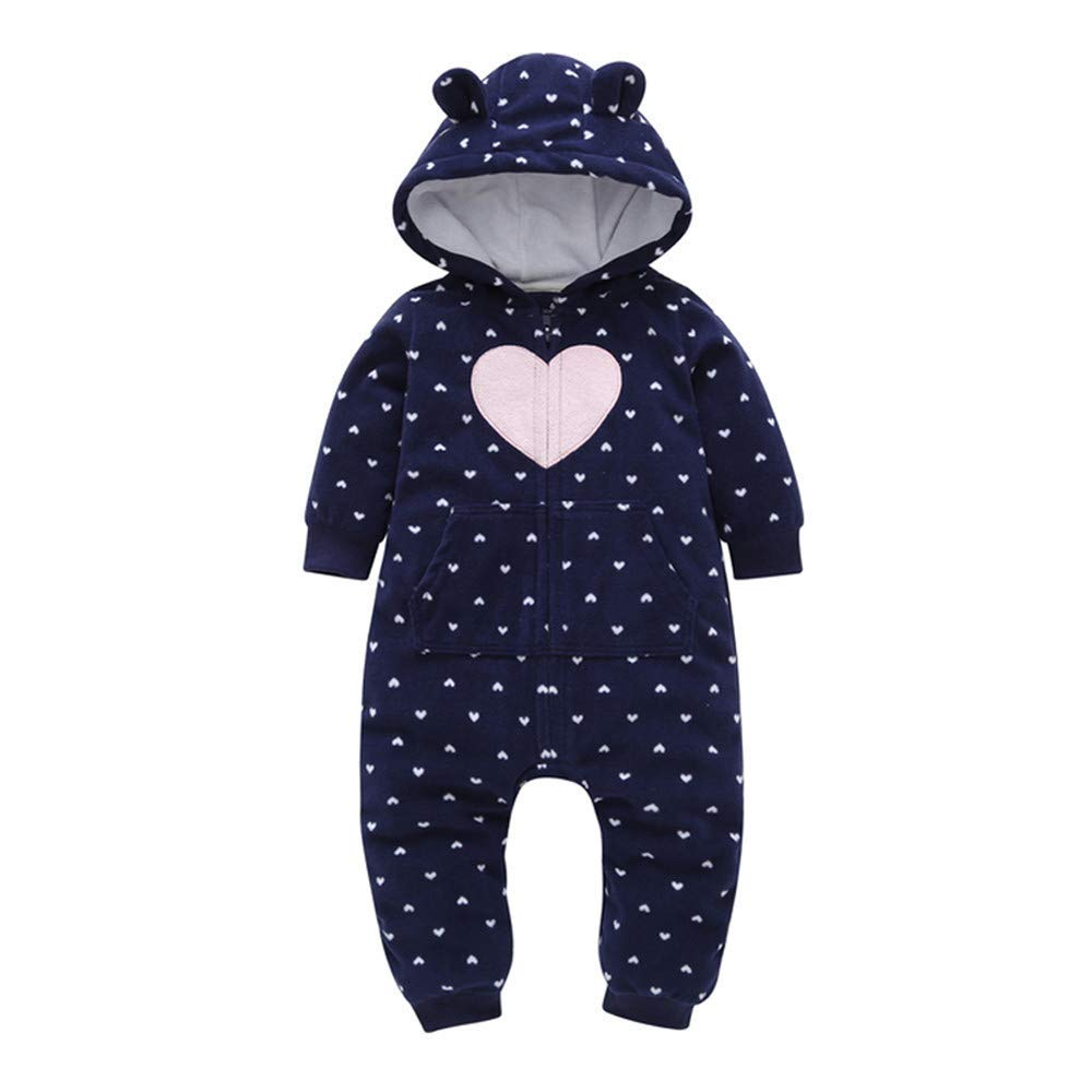 Outtop(TM) Baby Boys Girls Fleece Jumpsuit Romper Toddler Infant Fall Winter Thicker Hooded Sleepwear Pajamas Coats Outfits