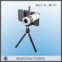 12X Optical Camera Zoom Lens Mobile Phone For iPhone + Portable Smartphone Tripod