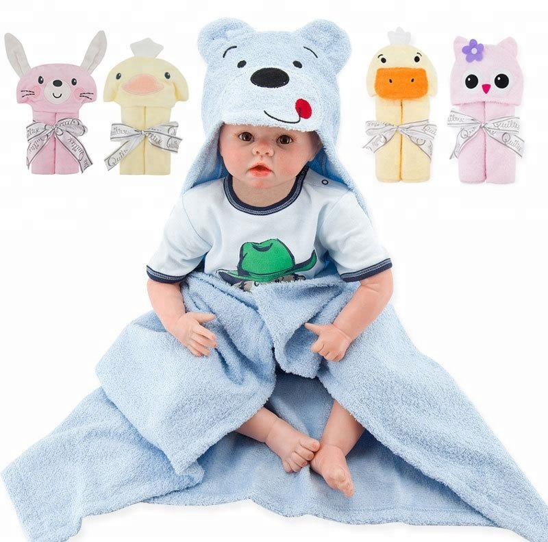Baby bath towel Flannel fleece kids cartoon animal head baby hooded poncho bath towel