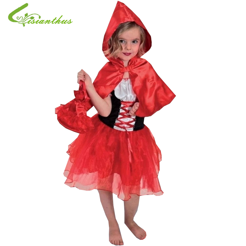 Girls Halloween Costumes Little Red Riding Hood font b Dress b font Cosplay Stage Wear Clothing