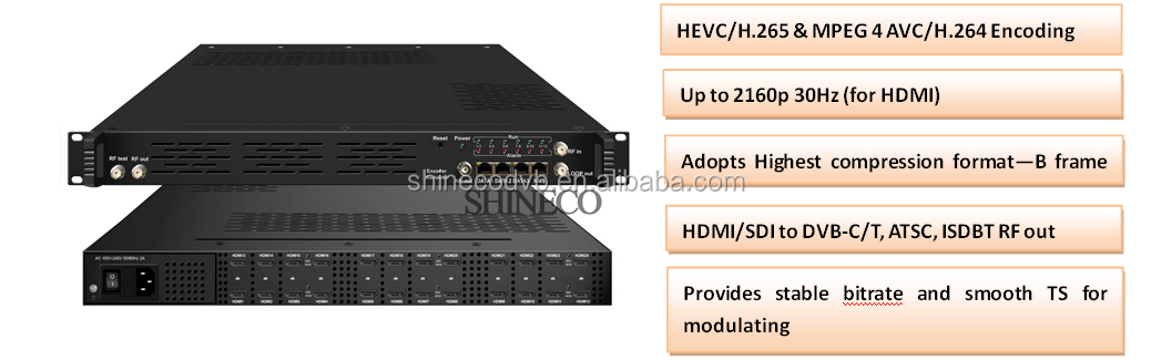 MPEG4 AVC/H 264 H 265 4K HD Encoder Modulator, View H 265 Encoder  modulator, Shineco Product Details from Chengdu Shineco Technology Co ,  Ltd  on