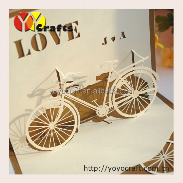 Lovely 3d Pop Up Card,Bicycle Shaped Wedding Invitation Card