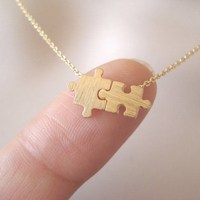 Special hot-sale gold plated dainty pendant autism puzzle necklace