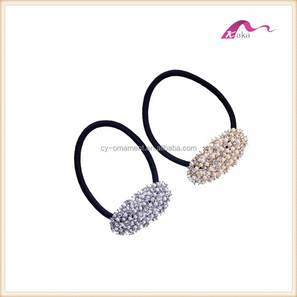 Exquisite Crystal Pearl Beads Decorative Elastic Hair Bands For Women  Wedding Accessories f6b137c4465