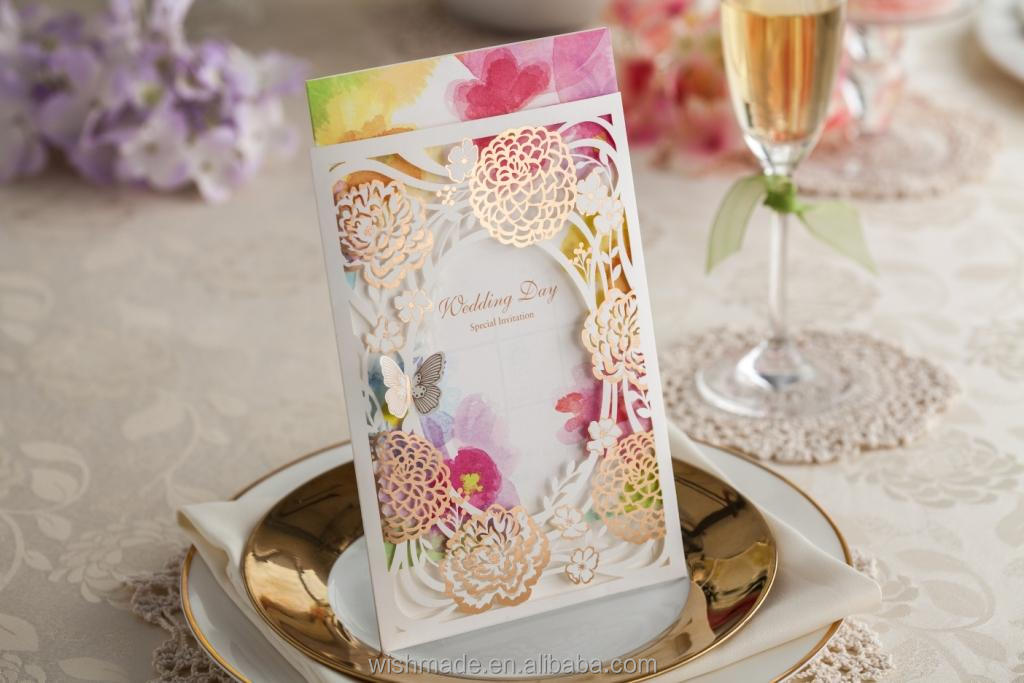 laser cut cover wedding invitation card with pop up butterfly