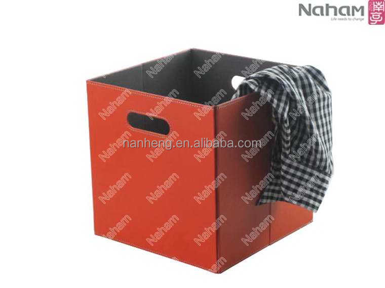 NAHAM Folding Pvc Leather Decorative Clothing Storage Tote Basket