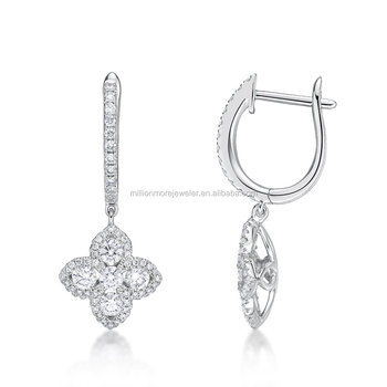 18k High End Fine Jewelry Flower Motif With Diamond Latest Gold Earrings Designs