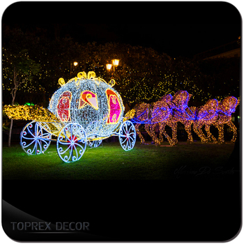 outdoor christmas decoration used pumpkin horse carriage led lights - Christmas Lighted Horse Carriage Outdoor Decoration