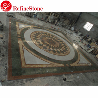 Cheap inlay tile marble medallions waterjet marble tiles , mosaic floor patterns waterjet marble medallion