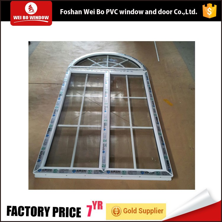 Arch Shape Simple Iron Window Grills Design Fixed Glass