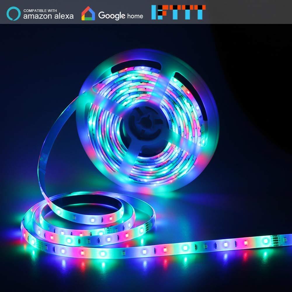 Texsens Smart LED Light Strip, 16.4ft 5m RGBW Wireless Strip Lights Kit, Flexible, Mixed Light Colors, Waterproof, Work with Amazon Alexa Echo/Google Home/IFTTT