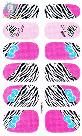 Y5201 Adhesive Nail Art Sticker Pink And Black Zebra Design Nail Wraps Decals Manicure Glitter Decor