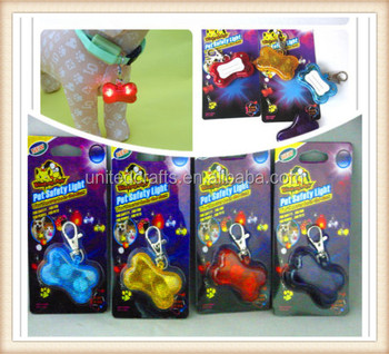 LED Light Up Pet Bone Safety Pendant Button Puppy Dog Tags Flasher Flashing