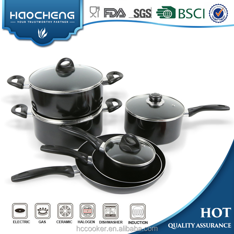 Aluminum color non stick 10pcs cookware set with SGS Certificate cookware