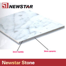 Carrara marble laminated ceramic tile,carrara marble backed ceramic