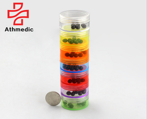 2020 Athmedic food grade promotion weekly cylinder column 7 days transparent rainbow pill organizer dispenser