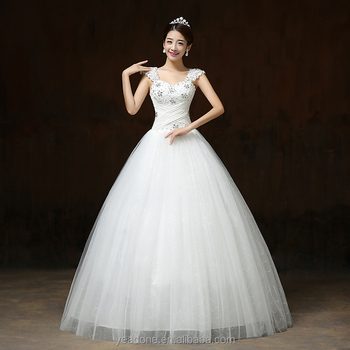 South Korea Style Women Wedding Dress Plus Size Bride With Rhinestone
