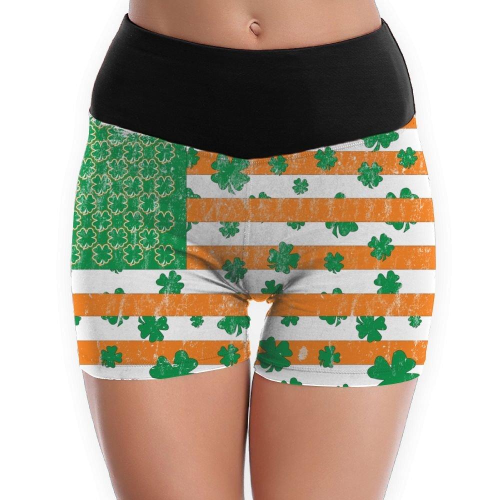 Patricks Day Irish Rainbow Pattern Womens High Waist Yoga Shorts Bike Running Yoga Short Pants St