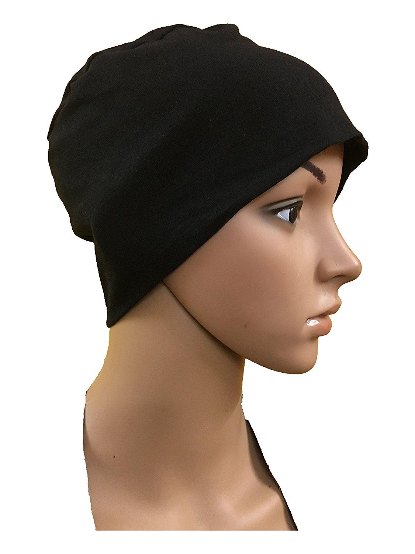 e4925ff70ee0f Get Quotations · GIRRIJA Black Chemo Beanies Cancer Caps Women Summer Chemo  Caps Sleep Turban UNDERSCARF Cap