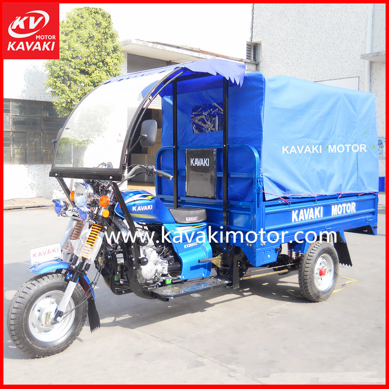 Three wheel bikes cargo motorcycle with canopy closed rickshaw tricycle