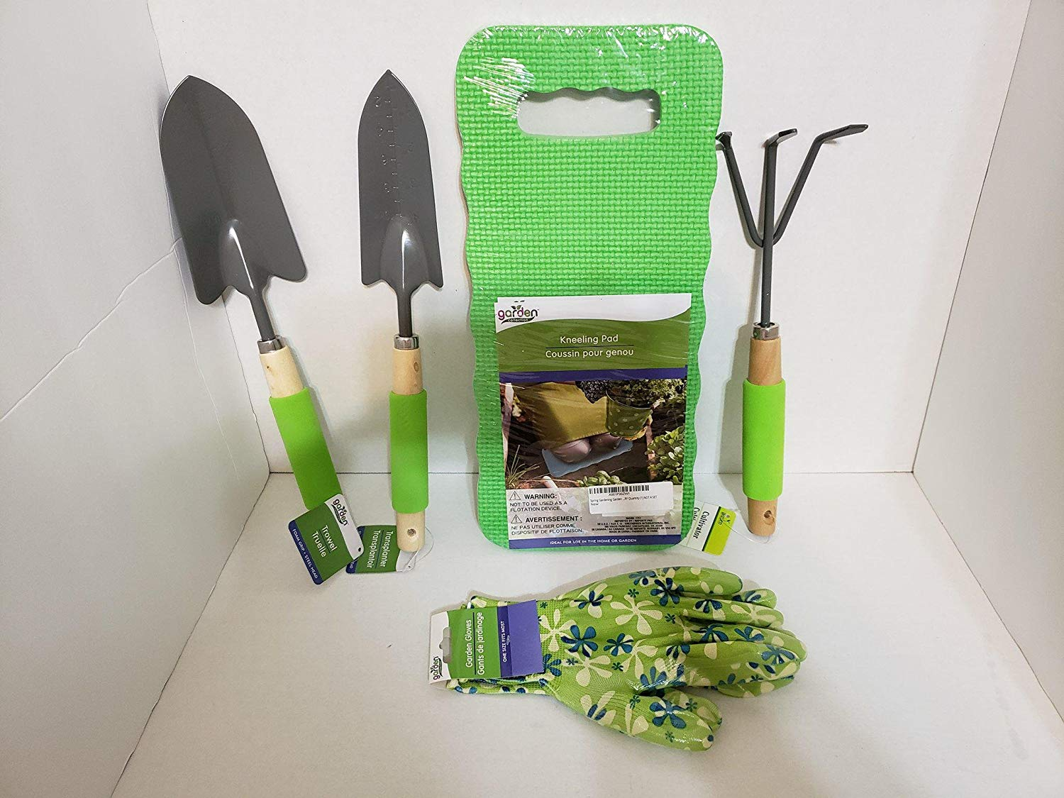 JGT Garden Tools Set Trowel Transplanter Cultivator Gloves Garden Kneeling Pad Weeding Digging, Transplanting, Cleaning, Soil Cultivating Set - Bundle Set of 5 (Green)